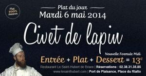 Plat du jour Restaurant Briare, Loiret, Région Centre - Civet de lapin maison