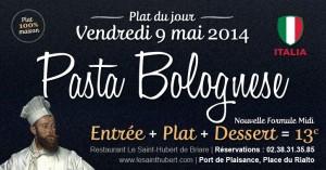 Plat du jour Restaurant Briare, Loiret, Région Centre - Pâtes Bolognaise (Pâtes fraîches Maison)