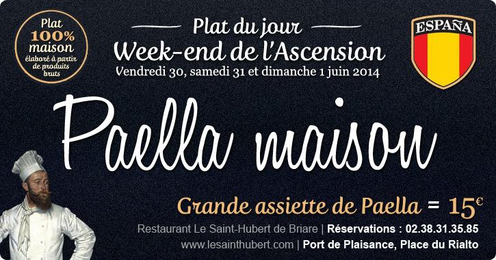 Plat du jour Restaurant Briare, Loiret, Région Centre - Paella maison