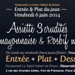 Entrée & Plat du jour Restaurant Briare, Loiret, Région Centre - Assiette de crudités, poulet & Rosbeef