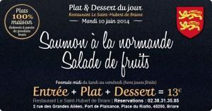 Plat du jour & Dessert Restaurant Briare, Loiret, Région Centre -Saumon à la normande & Salade de fruits