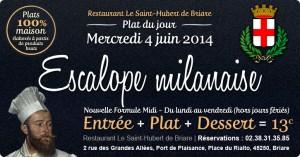 Plat du jour Restaurant Briare, Loiret, Région Centre - Escalope milanaise maison