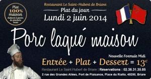 Plat du jour Restaurant Briare, Loiret, Région Centre - Porc laqué maison