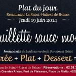 Plat du jour Restaurant Briare, Loiret, Région Centre - Andouillette sauce moutarde