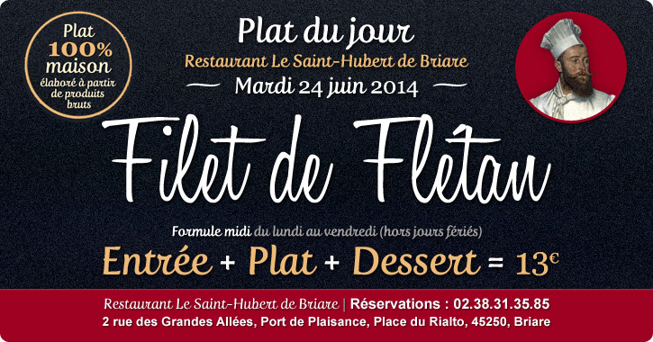 Restaurant Poisson Briare, Loiret, Région Centre - Filet de flétan