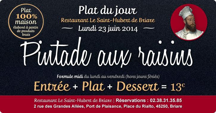 Plat du jour Restaurant Briare, Loiret, Région Centre - Pintade aux raisins