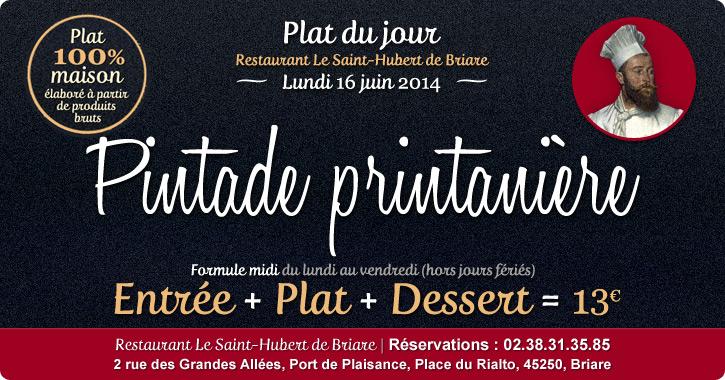 Plat du jour Restaurant Briare, Loiret, Région Centre - Pintade Printanière