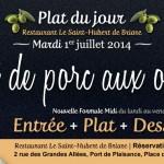 Plat du jour restaurant Briare, Loiret, Région Centre - Rôti de porc aux olives maison