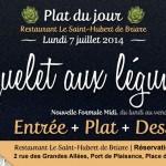 Plat du jour Restaurant Briare, Loiret, Région Centre - Coquelet aux légumes maison