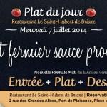 Plat du jour Restaurant Briare, Loiret, Région Centre - Poulet fermier sauce provençale