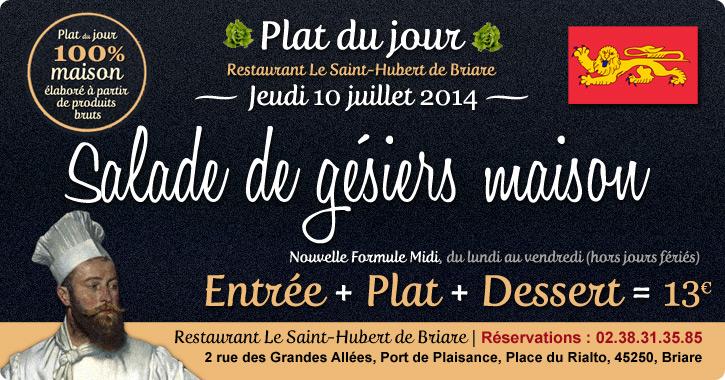 Salade de gésiers maison - Plat du jour Restaurant Briare, Loiret, Région Centre, France.